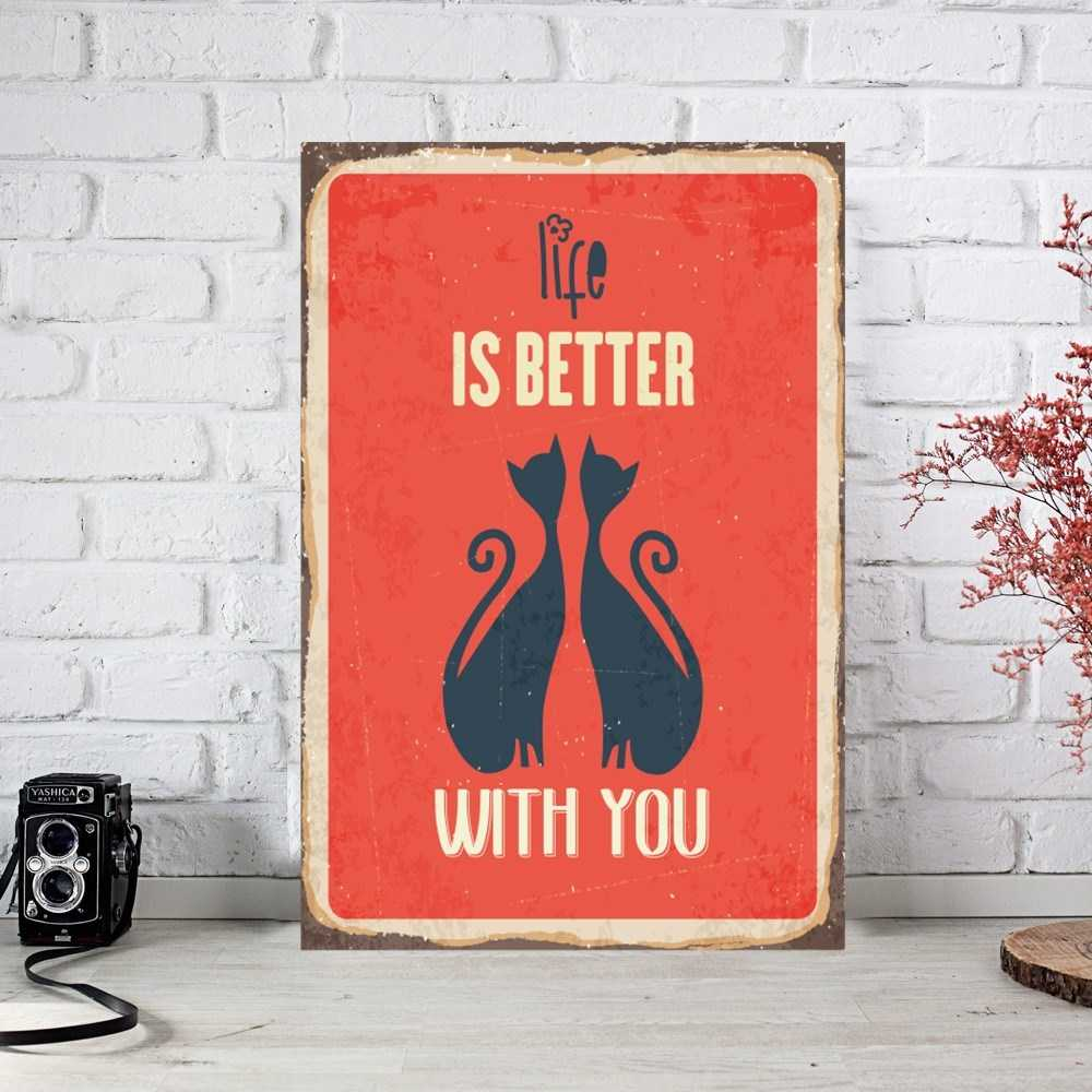 Life İs Better Retro Ahşap Poster (PST225)